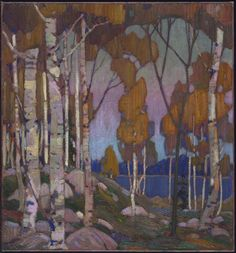 """Influence of Thomson's commercial work is evident here: a grouping of trees in the foreground frames a view across the lake—a layout he had used earlier in his design work. Tom Thomson, """"Decorative Landscape: Birches,"""" National Gallery of Canada. Group Of Seven Paintings, Paintings I Love, Tree Paintings, Acrylic Paintings, Emily Carr, Canadian Painters, Canadian Artists, Abstract Landscape, Landscape Paintings"""