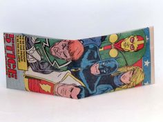 Comic Book Wallet// Justice League International// Green Lantern Guy Gardner, Captain Marvel, Batman, Mister Miracle, and Black Canary, $4.00