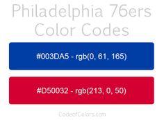 Philadelphia 76ers Team Color Codes