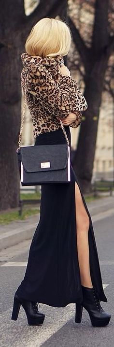 Love this outfit head to toe: cheetah coat, maxi skirt and platformed booties