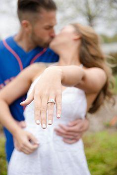 Engagement Photo Shoot Citi Field  PhotoCredit: Vanessa Guevara Photography   #EngagementPhotos #Wedding #CitiField #MLB #Ballpark #Baseball #Engagement #Photography #Mets #Ring #EngagementRing #SoftFocus #Kiss