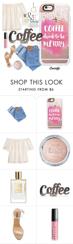 """""""Who needs a cup of coffee?☕️"""" by casetify ❤ liked on Polyvore featuring Levi's, ASOS, Casetify, H&M, Rustic Arrow and YEEZY Season 2"""