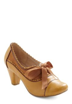 at Mod Cloth // Notch Your Step Heel in Caramel - Yellow, Brown, Scallops, Mid, Lace Up, Work, Vintage Inspired, Scholastic/Collegiate, Leather, Top Rated, Variation