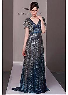 A-line V-neckline Flouncing Sleeves Sequin Net Overlay Long Gradient Color Evening Dress