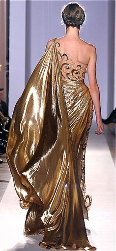 Zuhair Murad Gold Goddess Gown 2013 Yes, it is important to make an entrance, but making the perfect exit is also stylish. Fictional character, Desiree