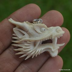 Dragon Head Carved 31x45mm Pendant PF554 w/ Silver in Antler Hand Carving