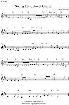 Swing low sweet chariot violin sheet music                                                                                                                                                                                 Más