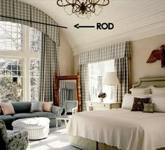 Arched window valance that hides the rod.