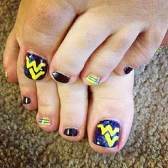 WVU toes-will most DEF.! Do these for football and basket season!! Woo hoo