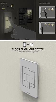 Interruptor com planta baixa da casa, onde cada botão representa um cômodo. via Hypeness - Designer Taewon Hwang