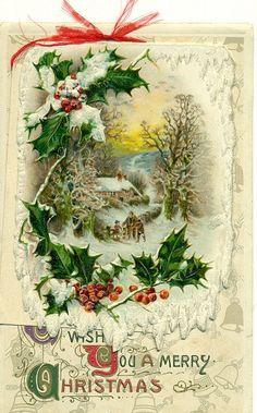 holly - vintage Christmas card