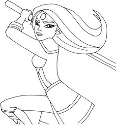 Free printable super hero high coloring page for Katana         One of my favorite . Actually I  love all of them! :-)