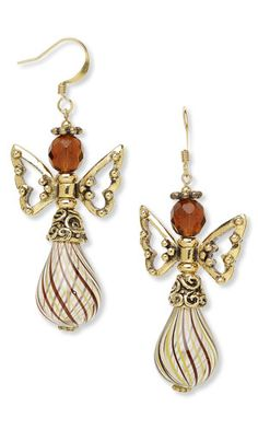 Earrings with Hand-Blown Glass Beads, Czech Fire-Polished Glass Beads and Metal Beads