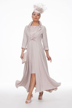 Crepe and satin coat and dress