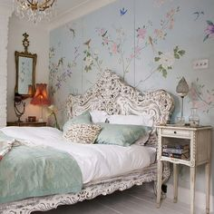 Beautiful Bedrooms  baby blue bedroom with flower print wallpaper dream room interior interior design, cute fabulous, pretty, lovely