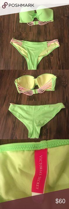 Victoria's Secret Green Bikini -Victoria's Secret -Lime Green Bikini -Strapless Top  -Cheeky bottom  -Size 32C top and small bottom -Price is for the set, both top and bottom Victoria's Secret Swim Bikinis