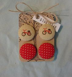 vintage red bicycle and polka dot button earrings by studio346, $15.00