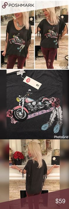 NWT Wildfox Born to be bad tee! With fringe Wildfox Couture Wild West Born To Be Bad Tee cuz you were born to be wild, bb. This sik tee features a baby blend that'll try to soften you up, but yer badazz at heart with its graphic print of a motorcycle and fringes that travel down yer sides. With a loose, oversize fit this tee has a v-neckline and looks good on tha back of bae's hog!    CLEAN BLACK Materials: 50% Cotton, 50% Polyester Wildfox Couture Tops Tees - Short Sleeve