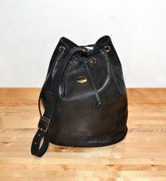 Vintage Black Leather Shoulder Bag / Duffle Bag / by MySunnyStore, $45.00