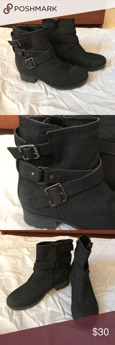 Sonoma Black Zip Up Boots Great condition, no stains. Only worn twice gently. Has 3 buckle straps on the sides and zips on the other. Super comfortable Boots with a small heel. Won't tire your feet after wearing them. Size 8.5. Sonoma Shoes Combat & Moto Boots