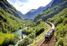The Flåm Railway - one of the steepest lines in the world. This train line is one of the connecting routes for the majestic Oslo-Bergen (Norway) Fjord Line.