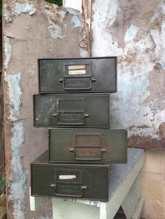Industrial File Box/Card Catalogs/Metal Filing Boxes/Army Green/Wooster Ohio/Industrial Decor/Masculine Decor/Scientific Decor
