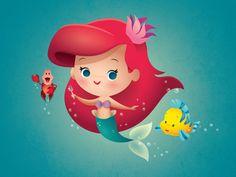 Disney Cute, Kawaii Disney, Disney Artwork, Disney Fan Art, Animation, Cute Disney Drawings, Disney Princess Ariel, Arte Disney, Cute Disney Wallpaper