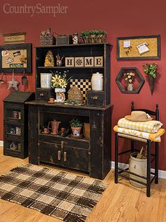 The Country Sampler stylists share easy ways to create living spaces that are buzzing with sunny spring style. Log Cabin Furniture, Primitive Furniture, Primitive Decor, Primitive Colors, Primitive Country, Primitive Living Room, Primitive Homes, Primitive Kitchen, Home Wall Colour