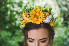 Fruit headpiece Summer Flower Crown Adult Floral Crown Yellow