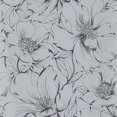 Papel de Parede Decoração Floral Outlet Origini, pronta entrega, estoque limitado, importado, lavável, rolos de 10m x53cm, superfície lisa, Prata e Preto