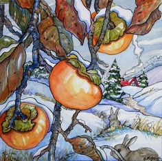 """""""Persimmons Caught by Snow Storybook Cottage Series"""" - Original Fine Art for Sale - © Alida Akers Cute Cottage, Cottage Art, Storybook Cottage, Painted Cottage, Floral Watercolor, Altered Art, Flower Art, Painting & Drawing, Illustration Art"""
