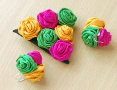 Summer Jewelry Set  Brooch Earrings Rose by magdamagdaFashion