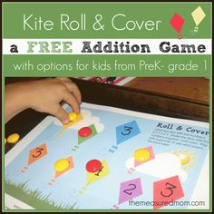Free addition game for kids from preK-grade 1 - Kite Roll and Cover