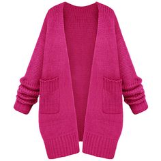 Womens Casual Long Sleeve Cardigan Sweater Coat Rose Red ($48) ❤ liked on Polyvore featuring tops, cardigans, rose red, rose tops, pink cardigan, red top, long sleeve tops and pink long sleeve top
