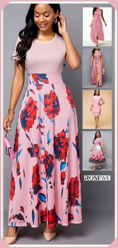 Ships within 24 hours & Short sleeve maxi pink summer dress for women 2020 Modest Fashion, Women's Fashion Dresses, Dress Outfits, Frock For Women, Summer Dresses For Women, Cute Dresses, Beautiful Dresses, Mini Frock, Casual Frocks