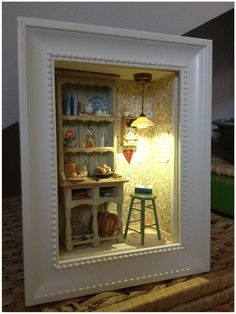 Dreaming of Sweden - A Miniature Dollhouse Room Box Vitrine Miniature, Miniature Rooms, Miniature Crafts, Miniature Fairy Gardens, Miniature Houses, Miniature Furniture, Dollhouse Furniture, Miniature Kitchen, Shadow Box Kunst