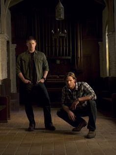 Dean and Sam Winchester.....I love how bow legged Jensen if too cute