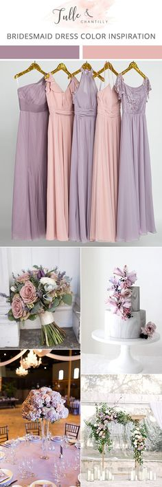lavender and pink wedding color ideas with mismatched bridesmaid dresses