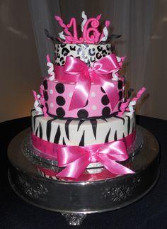 Sweet 16 Pink Birthday Cake #sweet16 #birthdaycake