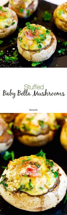 Stuffed Baby Bella Mushrooms--the perfect dish to impress your friends and family. #SkinnyMs