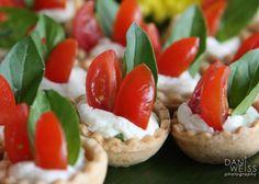 Our deliciously seasonal tomato-basil mascarpone cheese tartlets!