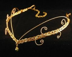 Medieval Renaissance circlet gold crystal elven headpiece
