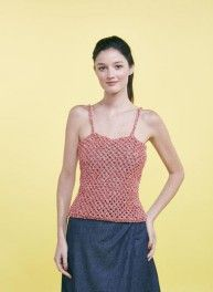 Hurray for summer, the time to get out this pretty openwork top.You'll love the simple shape with the sophisticated stitch revealed by this RUBAN yarn.An excellent project for busy intermediate knitters, made on mm needles. Point Mousse, Simple Shapes, Garter Stitch, Pulls, Crochet Hooks, Tankini, Pink Ladies, Tank Man, Wool