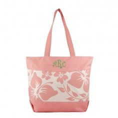 8ada143d3  28.00 Pink Floral Personalized Beach Bag from The Initials Shop! Preppy  Monogram
