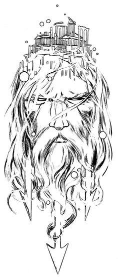 poseidon head by jamesjfrazier.dev… on poseidon head by jamesjfrazier. Zeus Tattoo, Poseidon Tattoo, Poseidon Drawing, Hercules Tattoo, Athena Tattoo, Trident Tattoo, Norse Tattoo, God Tattoos, Future Tattoos