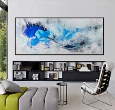 Large Abstract seascape giclee print on paper canvas from