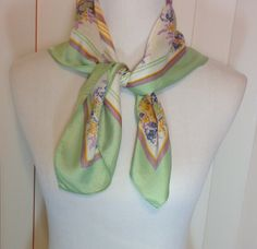 Vintage Green Purple and Yellow Flowers with Stripes Scarf by Oldtonewjewels on Etsy