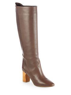 Chloé - Leather Knee-High Boots - Saks.com