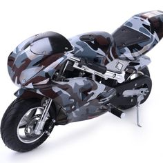 BUY Rosso Motors Motorcycle for Kids Gas Mini Pocket Bike Ghost Black | MINI GAS POWERED BIKES