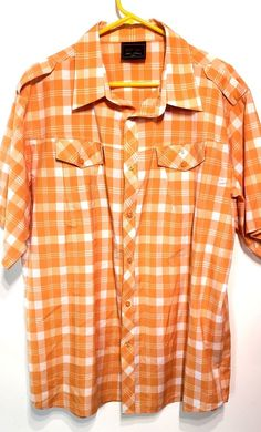 c21feff8dac4f8 Red Ape Mens 2XL SS Button Down Shirt Orange White Plaid Check  RedApe   ButtonFront
